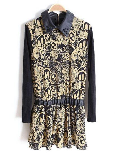 Khaki PU Lapel Long Sleeve Skull Print Dress