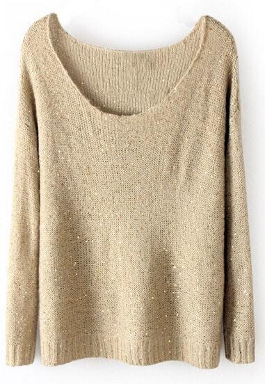 loser Langarm-Pullover mit Pailletten, beige