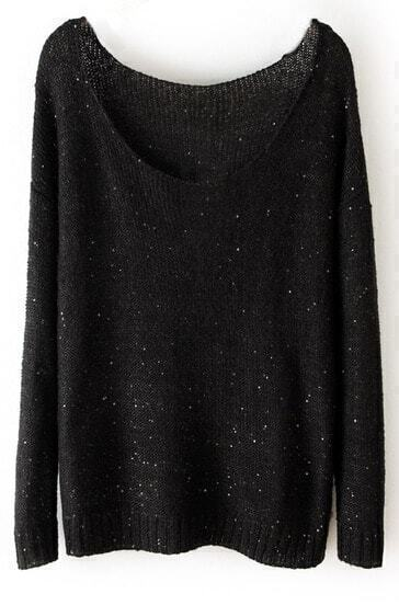 Black Long Sleeve Sequined Loose Pullovers Sweater