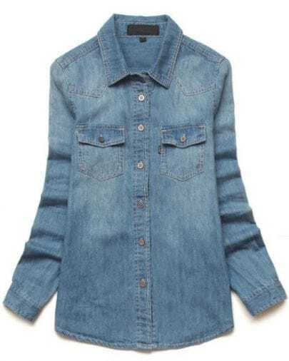 Blue Lapel Long Sleeve Metal Buttons Denim Blouse