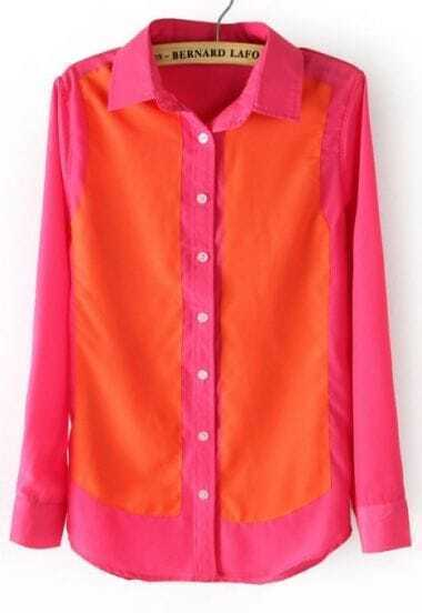 Rose Red Orange Long Sleeve Buttons Chiffon Blouse