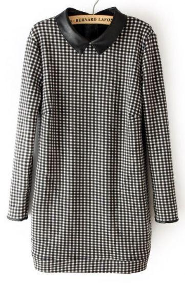 Black Long Sleeve Plaid Back Zipper Sweater