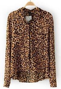 Leopard Lapel Long Sleeve Pockets Blouse