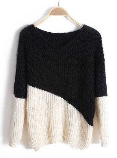 Black Long Sleeve Mohair Pullovers Sweater