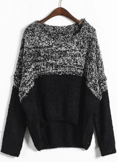 Grey Black Batwing Long Sleeve Asymmetrical Sweater
