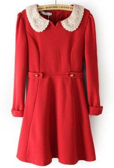 Red Lace Lapel Zipper Buttons Embellished Dress