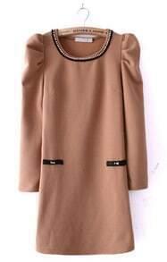 Khaki Puff Sleeve Pearls Embellished Pockets Dress