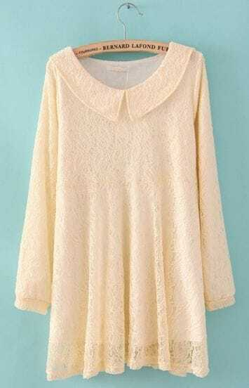 White Lapel Long Sleeve Embroidery Lace Dress