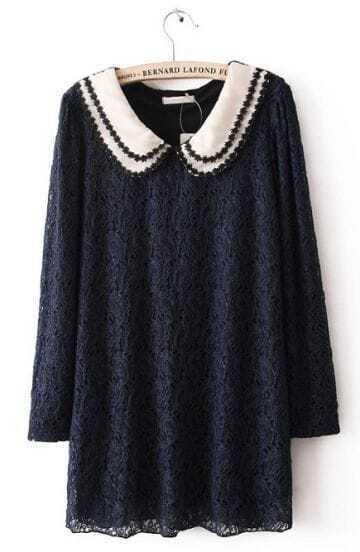 Navy Bilayer Lapel Long Sleeve Embroidery Lace Dress