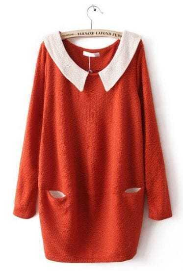 Orange Contrast Collar Long Sleeve Pockets Dress