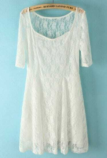 White Scoop Neck Half Sleeve Embroidery Lace Dress