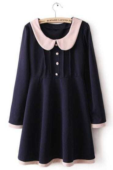 Navy Lapel Long Sleeve Contrast Trims Buttons Dress