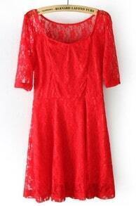 Red Scoop Neck Half Sleeve Embroidery Lace Dress