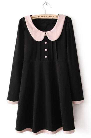 Black Lapel Long Sleeve Contrast Trims Buttons Dress