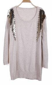 Apricot Long Sleeve Sequined Rivet Embellished Sweater