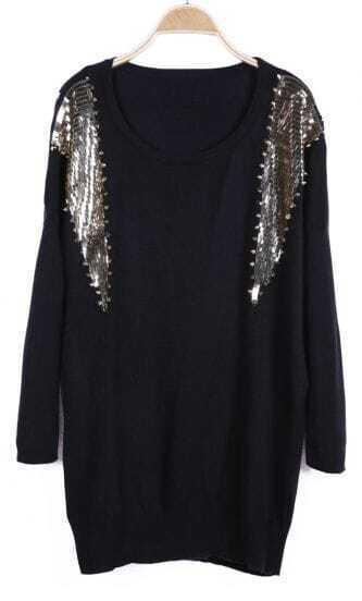 Black Long Sleeve Sequined Rivet Embellished Sweater