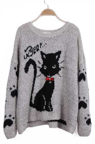 Light Grey Cat Claw Pattern Bow Embellished Sweater