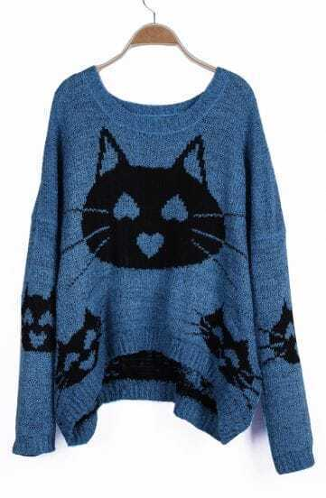 Blue Heart Cat Pattern Oversized Pullover Sweater