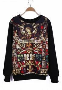 Black Round Neck City of Angels Print Sweatshirt