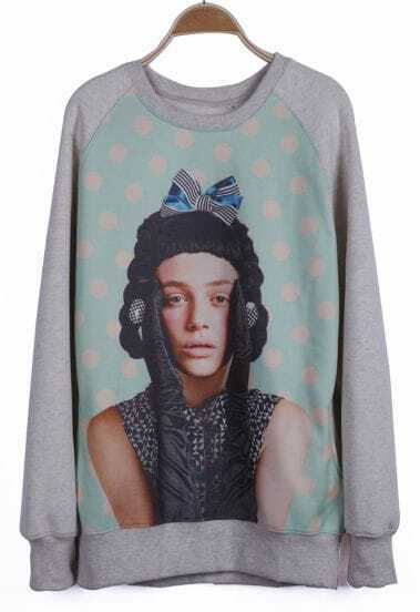 Grey Green Long Sleeve Girl Print Sweatshirt