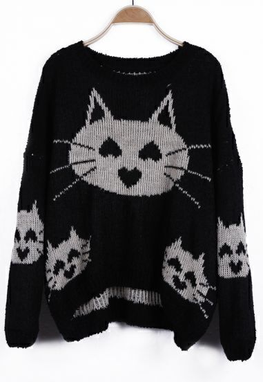Black Heart Cat Pattern Oversized Pullover Sweater