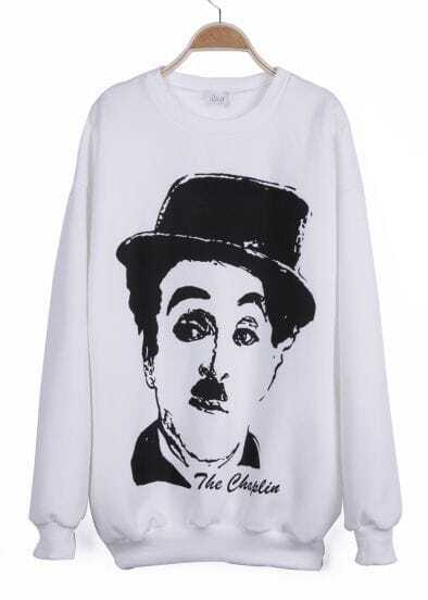White Long Sleeve Chaplin Print Sweatshirt
