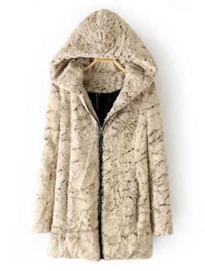 Apricot Hooded Zipper Fur Pockets Coat
