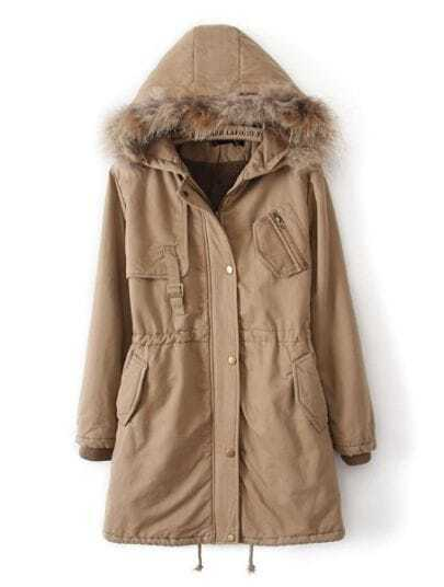 Khaki Fur Hooded Drawstring Zipper Pockets Coat