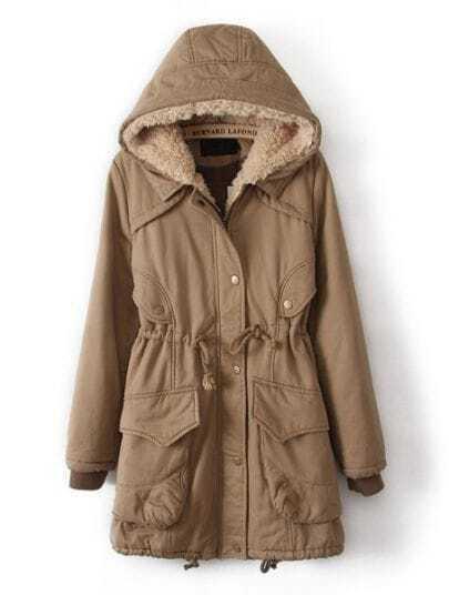 Khaki Hooded Drawstring Big Pockets Coat