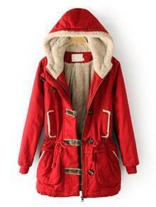 Red Hooded Drawstring Zipper Buttons Coat