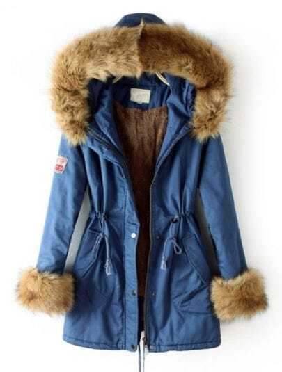 Blue Fur Hooded Drawstring Zipper Pockets Coat