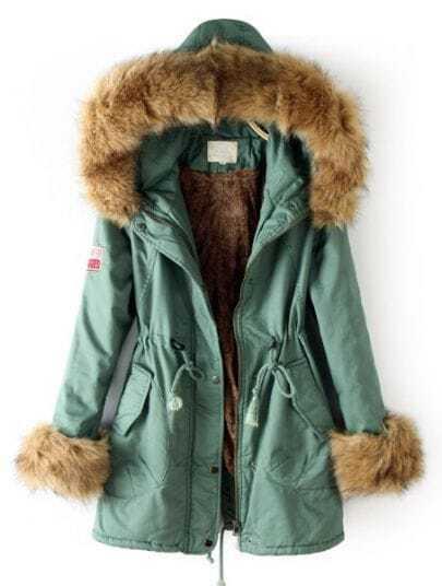Light Green Fur Hooded Drawstring Zipper Pockets Coat