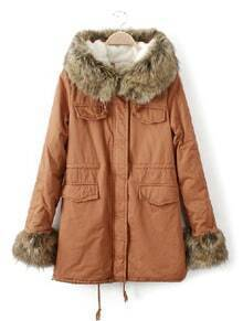 Camel Big Fur Hooded Drawstring Pockets Coat