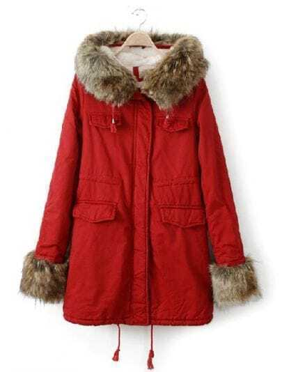 Red Big Fur Hooded Drawstring Pockets Coat