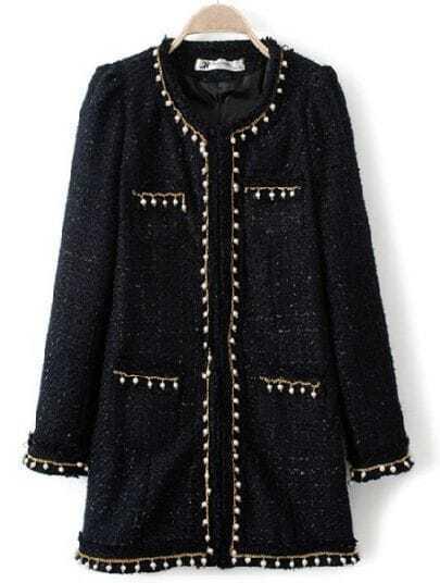 Navy Long Sleeve Beading Chain Embellished Coat
