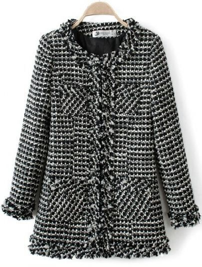 Black Long Sleeve Houndstooth Pockets Tweed Coat