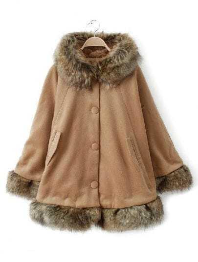 Camel Hooded Long Sleeve Contrast Fur Trims Coat