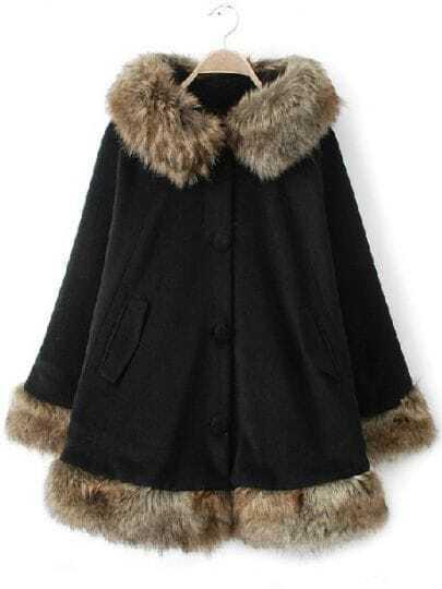 Black Hooded Long Sleeve Contrast Fur Trims Coat