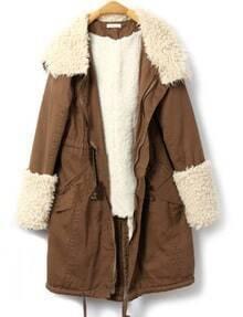 Khaki Zipper Hooded Back Split Drawstring Coat
