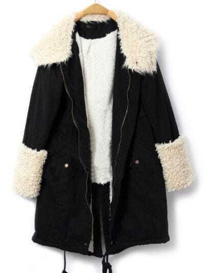 Black Zipper Hooded Back Split Drawstring Coat