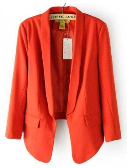 Orange Lapel Long Sleeve Curve Lap Pockets Suit