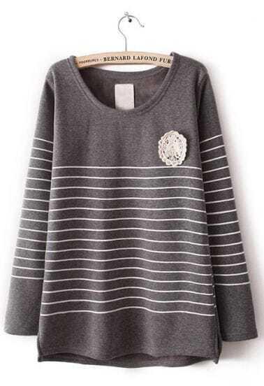 Grey Long Sleeve Striped Lace Embellished T-Shirt