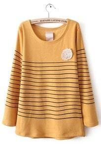 Yellow Long Sleeve Striped Lace Embellished T-Shirt
