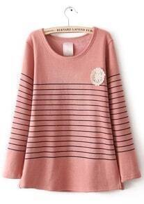 Pink Long Sleeve Striped Lace Embellished T-Shirt