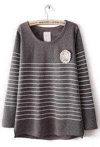 Grey Long Sleeve Striped Lace Embellished T-Shirt