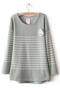 Green Long Sleeve Striped Lace Embellished T-Shirt