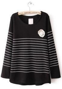 Black Long Sleeve Striped Lace Embellished T-Shirt