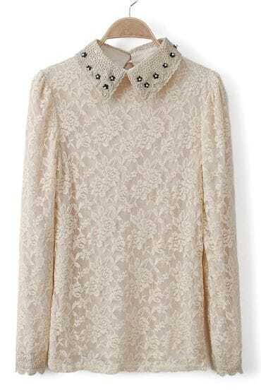 Beige Rivet Lapel Long Sleeve Mesh Yoke Lace T-Shirt