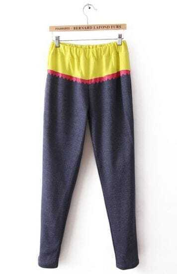 Yellow Navy Elastic Waist Zigzag Pockets Pant