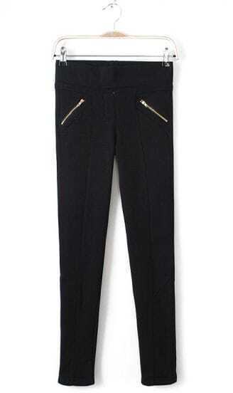 Black Low Waist Zipper Pockets Pencil Pant